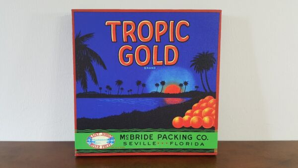 "Tropic Gold Vintage Citrus Crate Label 16"" x 16"" Gallery Wrapped Canvas"