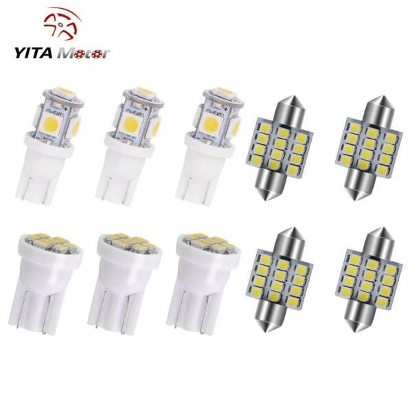 11x White LED Interior Package Kit T10 &31mm Map Dome License Plate Light Bulbs