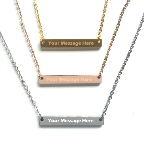 Personalized Custom Free Engraved Name Bar Necklace $12.99