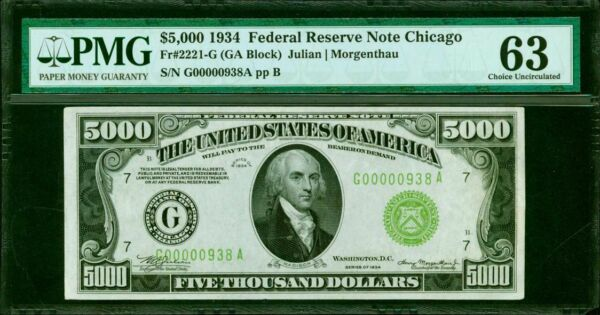 FR. 2221-G 1934 $5000 FRN FEDERAL RESERVE NOTE PMG CHOICE UNCIRCULATED-63