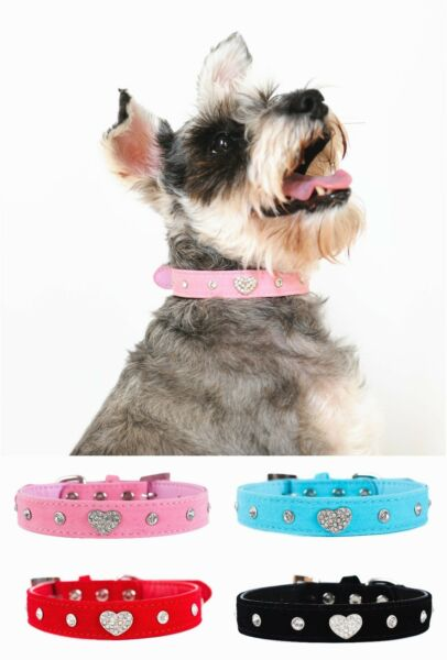 Cute Designer Rhinestone Dog Collars With Diamond Heart For Puppy Pet $8.99