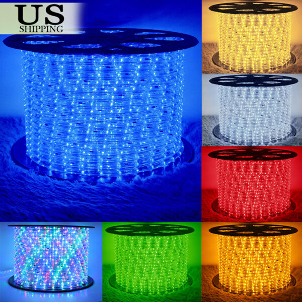 50' 150' LED Rope Light 110V Party Home Christmas Outdoor Xmas Lighting 100 300