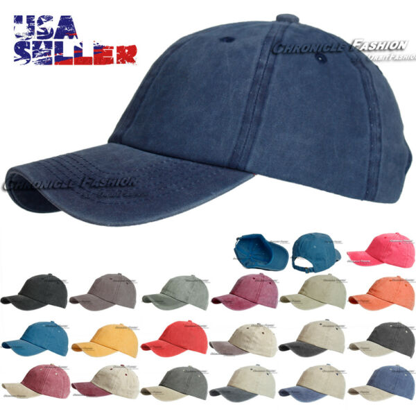 Cotton Baseball Cap Hat Washed Plain Solid Adjustable Polo Style Ball Caps Mens