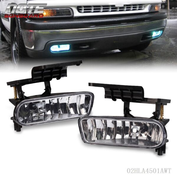 For 00-06 Chevy Suburban Tahoe Clear Bumper Fog Lights Driving Lamps