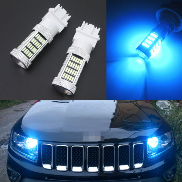 2pcs Ice Blue 92-4014-SMD LED DRL Daytime Running Light Bulb 3157 3156 4114 4157