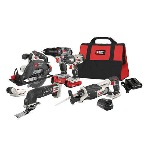 Porter-Cable 20V MAX Cordless Li-Ion 6-Tool Combo Kit PCCK617L6 New
