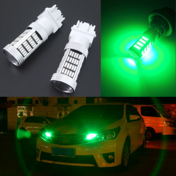 2pcs Green 92-4014-SMD LED DRL Daytime Running Light Bulbs 3157 3156 4114 4157