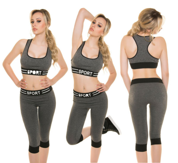 Damen WORK OUT Leggings 3/4 Sporthose TOP 2in1 SET SPORT GYM FITNESS YOGA XS S M
