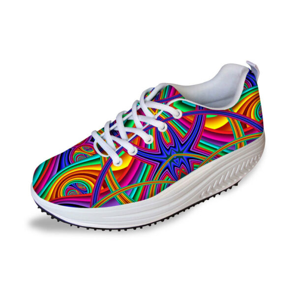 Fashion Printed Platform Shoes Women Ladies Wedge Sneakers Shape Up Toning Shoes