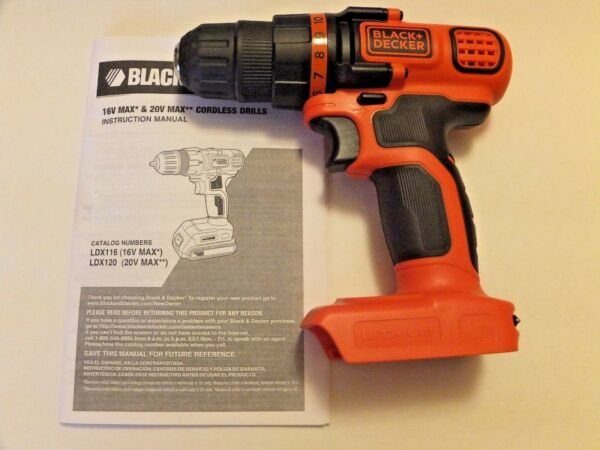NEW Black amp; Decker 20V Max LDX120 Lithium 3 8quot; DRILL DRIVER For LBXR20 TOOL ONLY