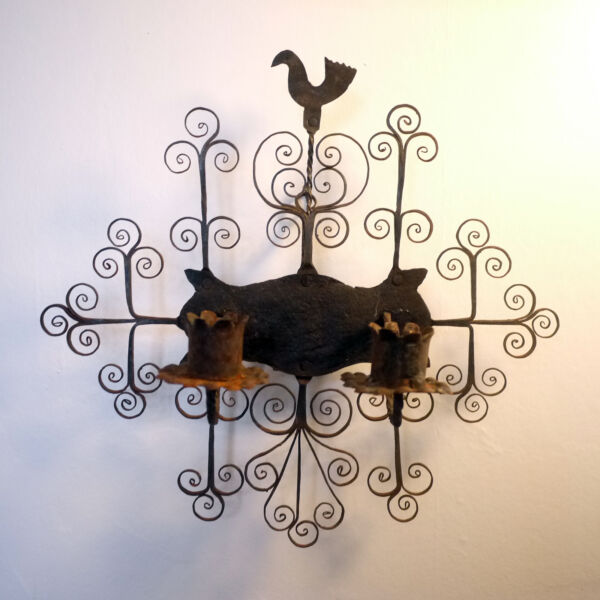 Antique Blacksmith Forged Wrought Iron Floral Bird Motif Candle Scoonce Spain