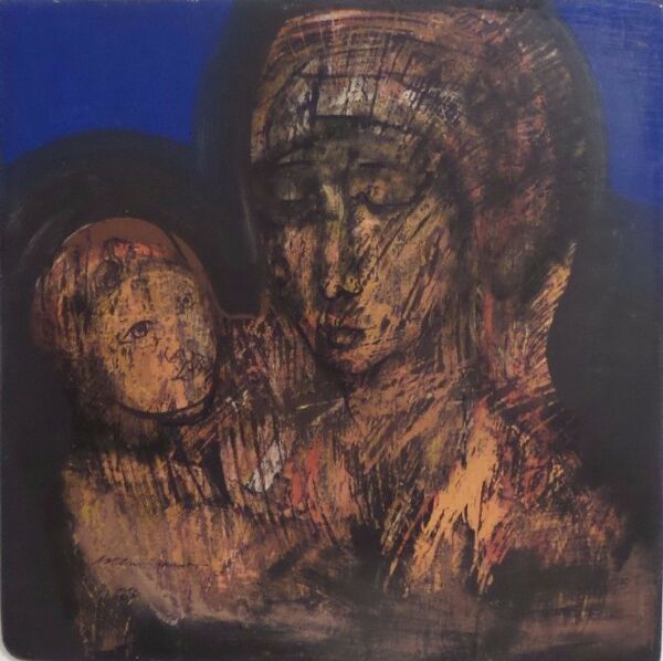 Madonna with Child by Mexican Artist Guillermo Ceniceros Acrylic on Wood
