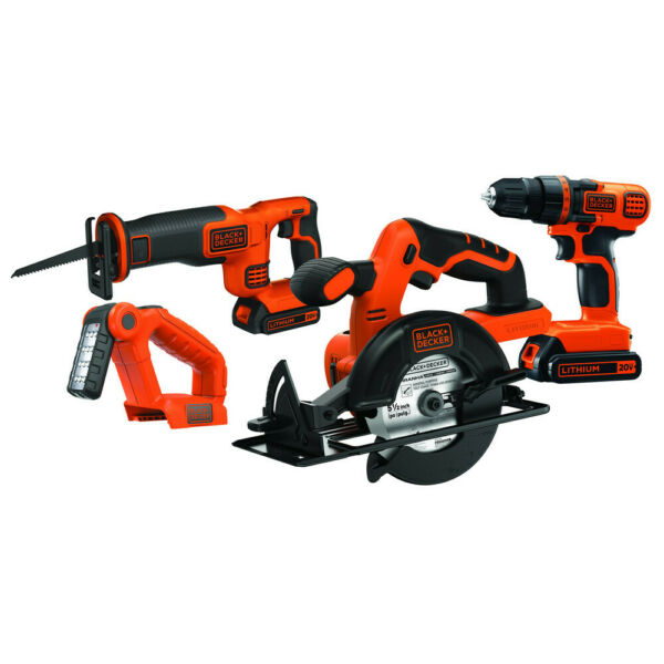 Black & Decker 20V MAX 1.5 Ah Cordless Li-Ion 4-Tool Combo Kit BD4KITCDCRL New