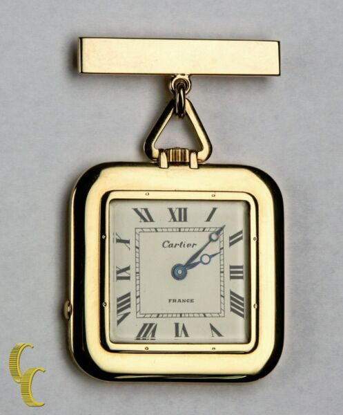 Cartier Gold Square Antique Pocket Watch 29 Jewels Repeater w Original Pouch