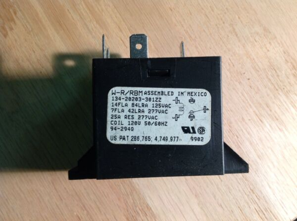 White-Rodgers 134-20203-301ZZ SPDT Relay 120VAC Coil14A contacts
