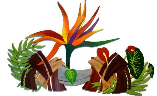 Mediterraneanwoodenplant and floral Wall Sculpture Wall decor large DivaArt