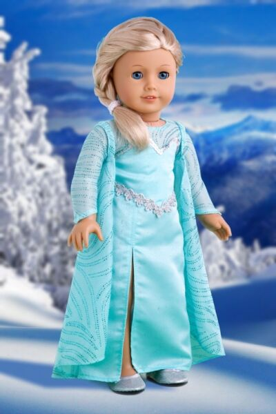 Snow Queen - 18 inch Doll Clothes Disney Frozen Elsa Dress Cape Silver Shoe