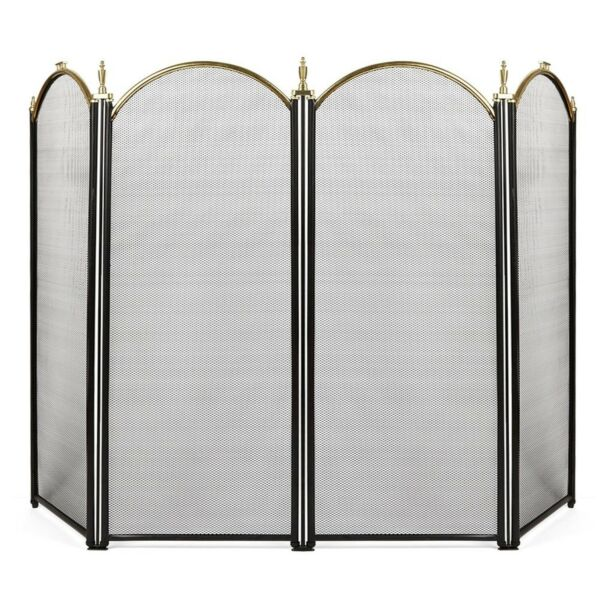 4 Panel Outdoor Large Gold Fireplace Screen Wrought Iron Black Metal Fire Place