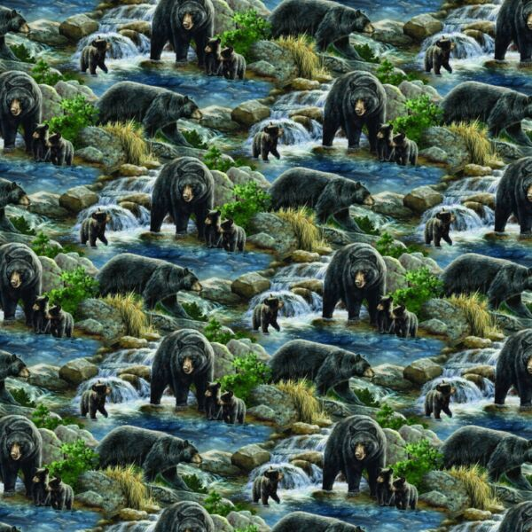 Wild Wings Cool Waters Mountain Bear Scenic 100% cotton fabric by the yard