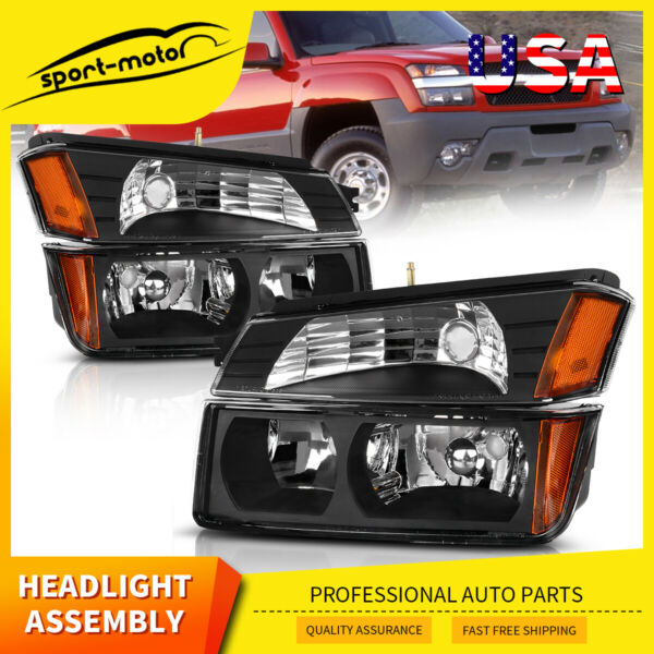for 2002-2006 Chevy Avalanche Body Cladding Black Headlight Headlamp Replacement