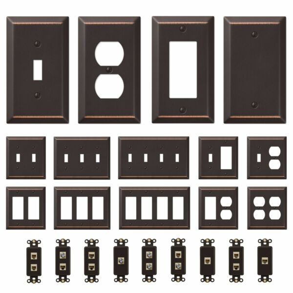 Oil Rubbed Bronze Wall Switch Plate Outlet Cover Toggle Rocker GFI Duplex Outlet