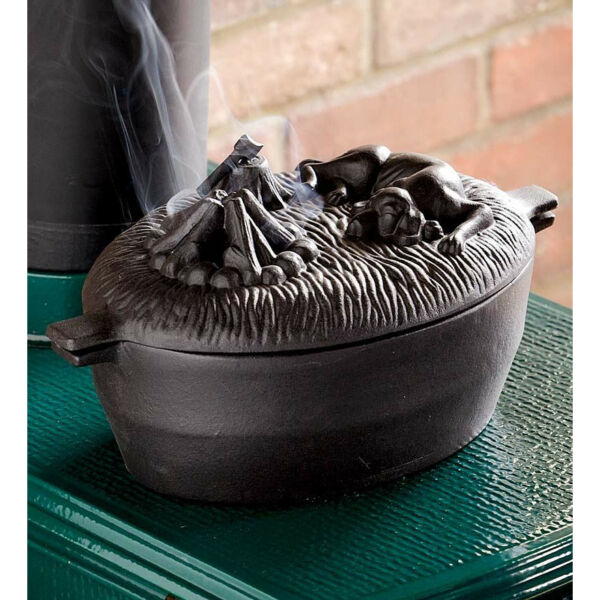 Cast Iron Dog Wood Stove Steamer Kettle Pot Dog Humidifier Plow