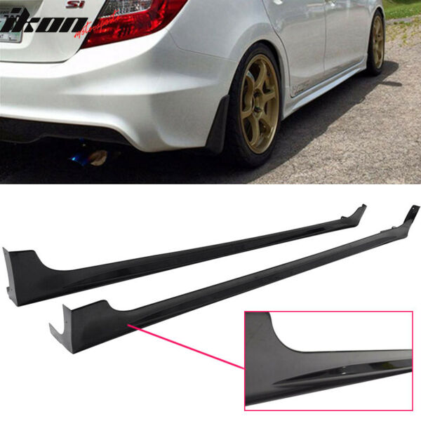 Fits 12-15 Honda Civic 9th 4Dr Mugen RR Style Side Skirts Rocker Panels Pair ABS