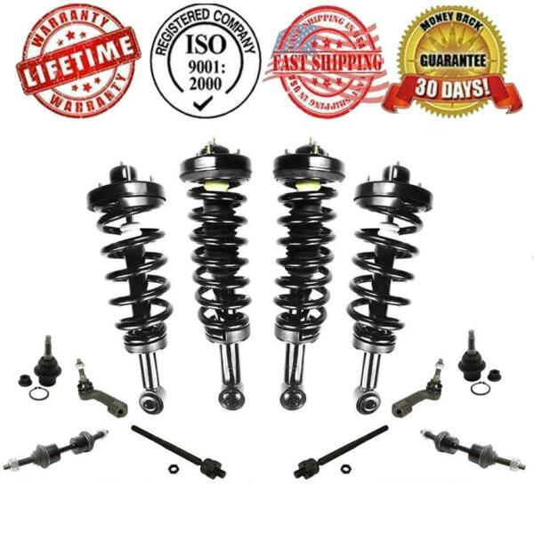 F & R Complete Strut & Springs Assembly + Tie Rods Ball Joints Sway Bar 12Pc