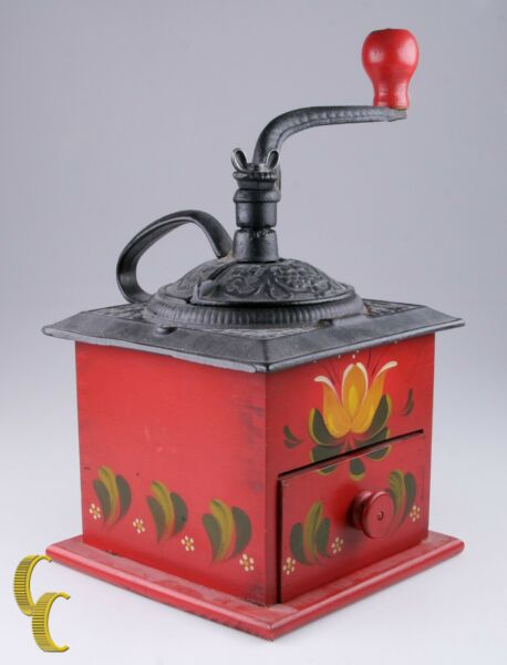 Vintage Hand Painted WoodCast Iron Coffee Grinder with Red Floral Design
