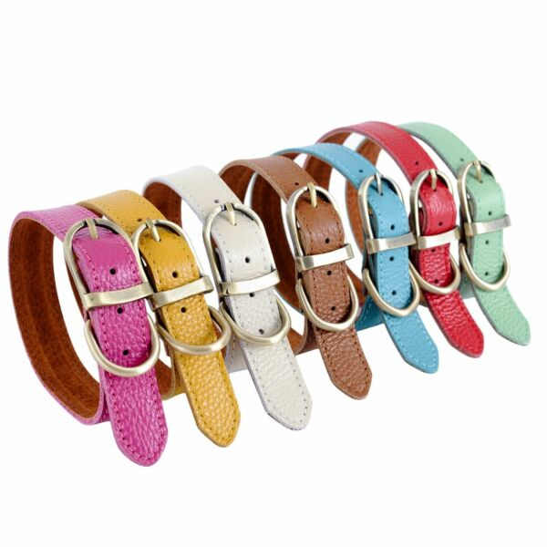 Pet Genuine Real Soft Leather Collar Dog Cat Puppy Neck Buckle 7 Colors 3 Sizes $8.99