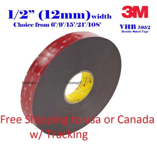 3M 1 2quot; x 9 15 21 108 VHB Double Sided Foam Adhesive Tape 5952 Gopro Action Can