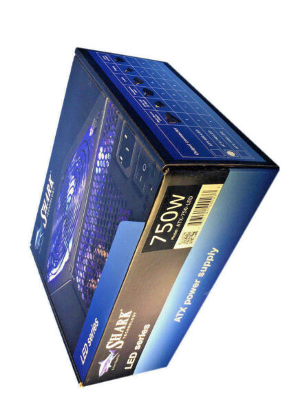 New SHARK Blue 750W LED Series Quiet 120mm Fan PCIe Gaming PC Power Supply i7/i5