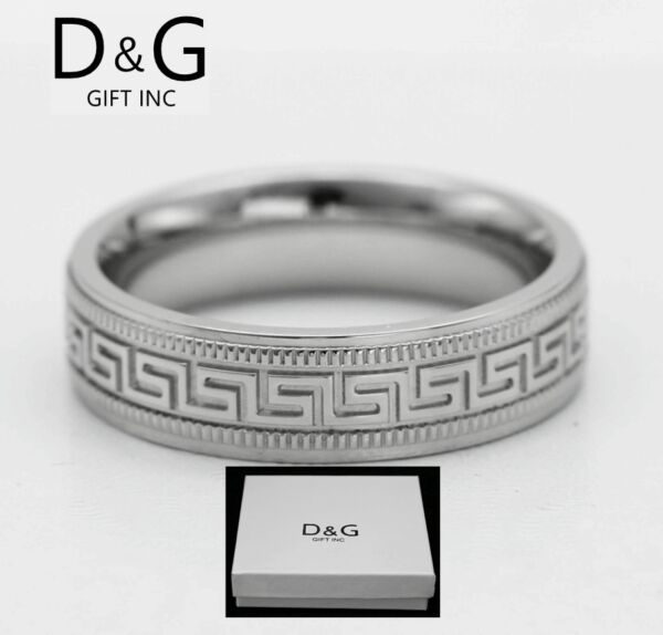 DG Men#x27;s Stainless Steel.Silver 7mm Greek key Band Rings 8 9 10 11 12 13 Box