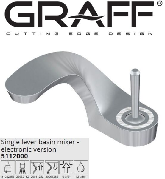 Graff Ametis 5112000 Basin Mixer Electronic Version wLed+ Push-open drain waste