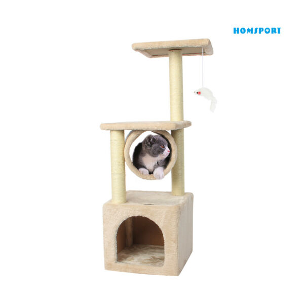 35#x27;#x27; Cat Tree Bed Furniture Scratching Tower Post Condo Kitten Play House Beige $28.79
