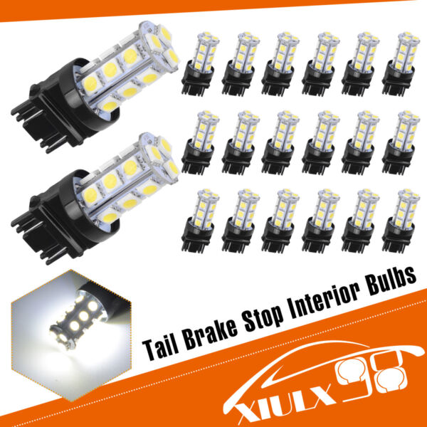 20x White 6000K 31573156 5050 18 SMD LED Turn Signal Backup Reverse Light Bulbs