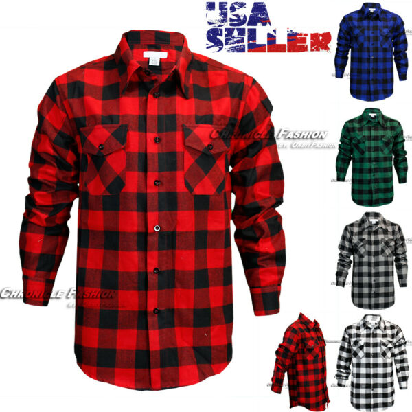 Mens Brawny Buffalo Plaid Flannel Casual Shirt Button Front Long Sleeves Checks