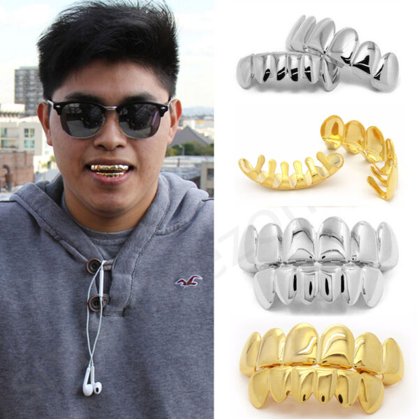 14K GoldSilver Plated Mouth Caps Cosplay Teeth Grills Grillz Hip Hop Free Mold