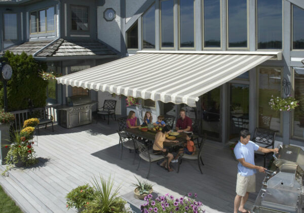 20' SunSetter Motorized Awning Package with Acrylic Fabric LED Lights