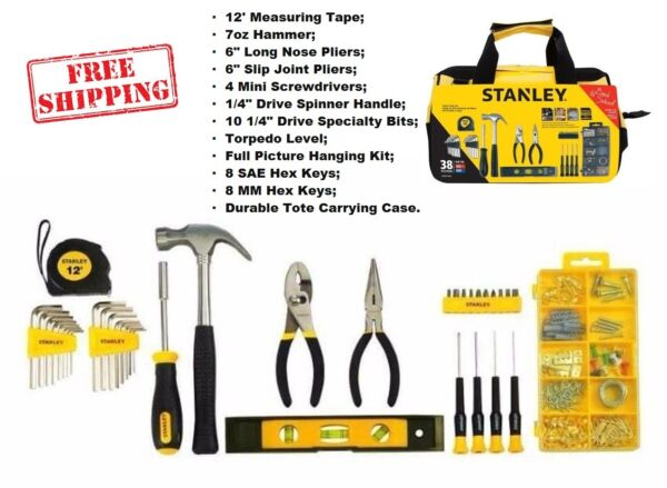 Stanley Home Repair Kit Tool DIY Set 38 Mixed Piece Case Mechanics Household