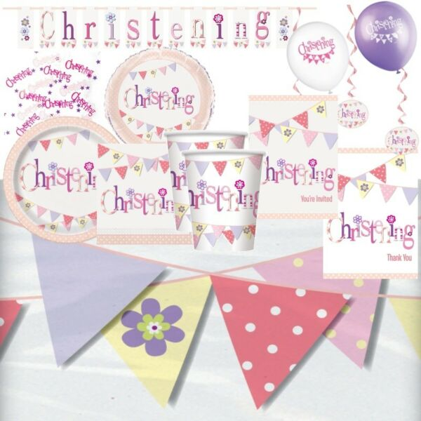 Pink Bunting Christening Party Supplies Tableware Decorations & Balloons