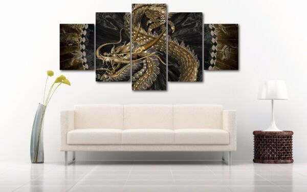 Large Chinese Dragon Snake Home Decor Canvas Print Wall Art