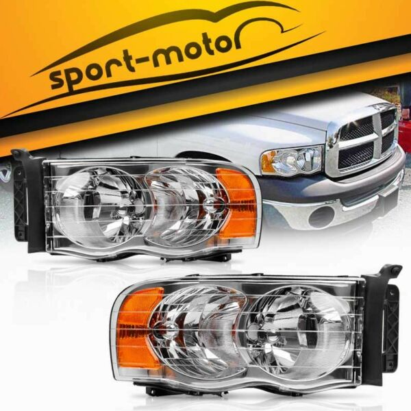 Pair Front Headlight Assembly Kit for 2002-2005 Dodge Ram 1500 2500 3500 Pickup