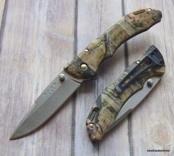 BUCK BANTAM MOSSY OAK FOLDING KNIFE LOCK BACK WITH POCKET CLIP MADE IN USA