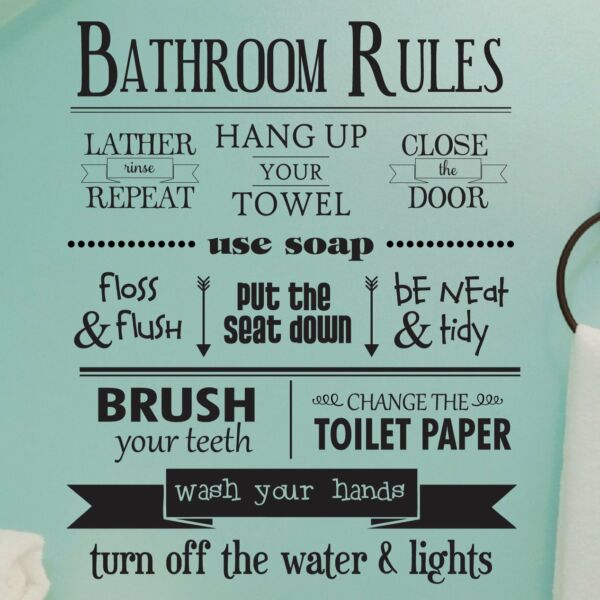 BATHROOM RULES Removable Home Wall Decal Vinyl Quote Stickers Decor Art 30