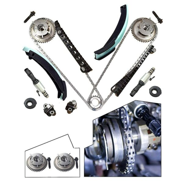For 04-08 Ford F150 Lincoln 5.4L Triton Timing Chain Kit+Cam Phasers+VVT Valves