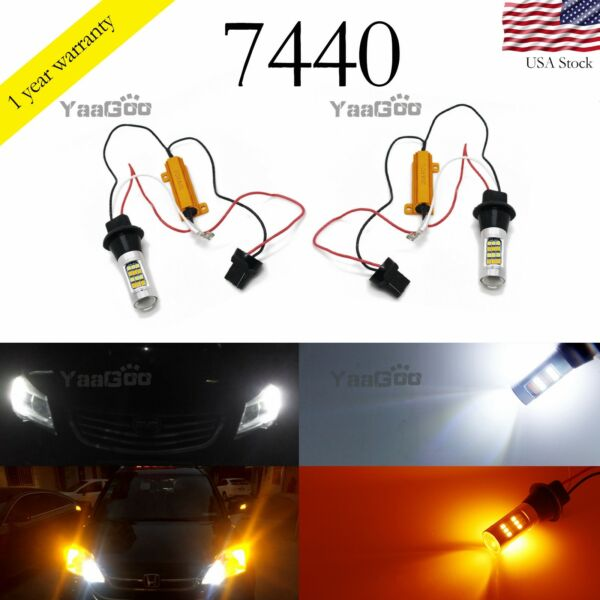 7440 T20 Switchback LED Bulbs White and Amber For Turn Signal DRL Light 42 SMD