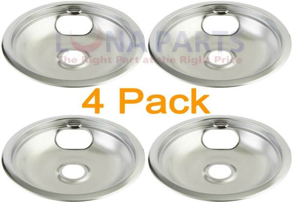4 Pack Maytag Crosley Kenmore Stove 8quot; Chrome Drip Pan W10196405