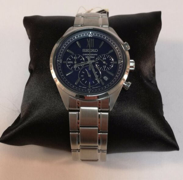 Seiko Chronograph Blue Dial Stainless Steel Men's Watch Item No. SSB155