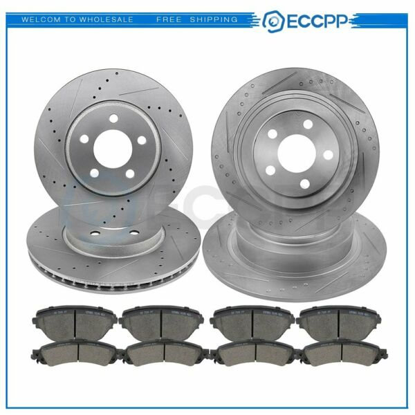 For Scion tC 2005 - 2010 Drilled Slotted Brake Discs Rotors And Ceramic Pads Kit
